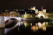 The Fourvière Basilica at night from Pont Bonaparte, Lyon, France (UNESCO World Heritage Site)