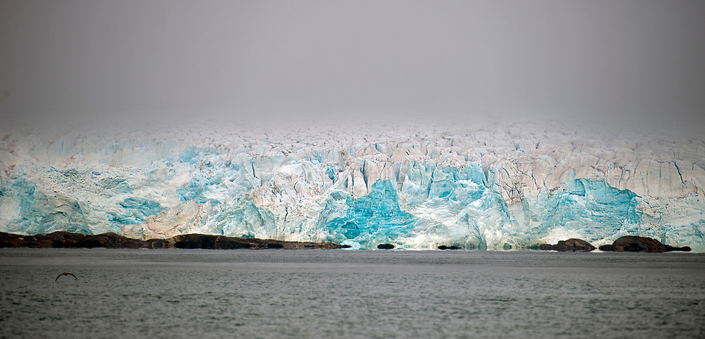 Foggy glacier in north-western Spitsbergen, Svalbard from early August 2012.