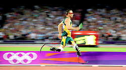 LONDON, Aug. 10, 2012  Oscar Pistorius (R) of South Africa competes in men's 4x400m relay final at London 2012 Olympic Games, London, Britain, Aug. 10, 2012. The team of South Africa ranked 8th with 3:03.46  (Credit Image: © Xinhua via ZUMA Wire)