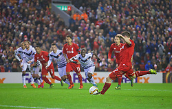 LIVERPOOL, ENGLAND - Thursday, November 26, 2015: Liverpool's James Milner scores the first equalising goal against FC Girondins de Bordeaux from the penalty spot during the UEFA Europa League Group Stage Group B match at Anfield. (Pic by David Rawcliffe/Propaganda)