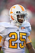 Nov 12, 2011; Fayetteville, AR, USA;  Tennessee Volunteers defensive back Art Evans takes the field before the start of a game against the Arkansas Razorbacks at Donald W. Reynolds Razorback Stadium. Arkansas defeated Tennessee 49-7. Mandatory Credit: Beth Hall-US PRESSWIRE