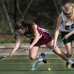 Nerinx Hall's Rachel Gabrian (20), right, and Villa Duchesne' s Mary Grace Cusumano (12) jockeyed for the ball in the second half of a game between Nerinx Hall High School and Villa Duchesne at Nerinx Hall in Webster Groves April 5, 2016. Villa Duchesne won 9-8.