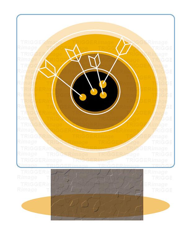 Circular target with arrows