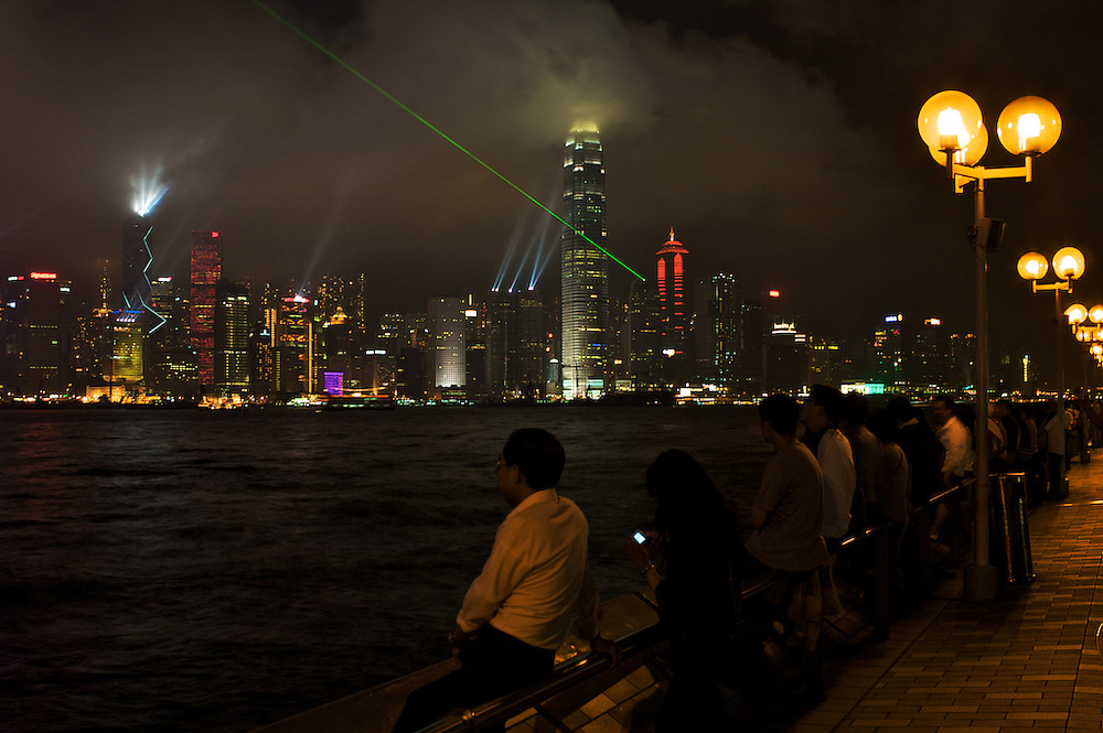 Hong Kong light show from Kowloon promenade