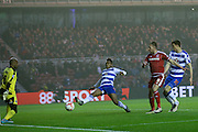 Middlesbrough forward Jordan Rhodes (9)  with a shot on goal during the Sky Bet Championship match between Middlesbrough and Reading at the Riverside Stadium, Middlesbrough, England on 12 April 2016. Photo by Simon Davies.