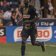 Philadelphia Union Attacker C.J. SAPONG (17) run off the field in the first half of a Major League Soccer match between the Philadelphia Union and Columbus Crew SC Saturday, July. 26, 2017, at Talen Energy Stadium in Chester, PA.