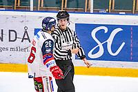 2019-11-20 | Umeå, Sweden:Västervik (26) Darren Nowick have a chat with the Referee in  HockeyAllsvenskan during the game  between Björklöven and Västervik at A3 Arena ( Photo by: Michael Lundström | Swe Press Photo )<br /> <br /> Keywords: Umeå, Hockey, HockeyAllsvenskan, A3 Arena, Björklöven, Västervik, mlbv191120
