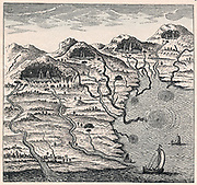 Circulation of water between sea and mountains. Blue-tinted flows are mountains to sea, black represents subterranean flows from sea to mountains. From Athanasius Kircher 'Mundus Subterraneous', 1665. Jesuit scholar.