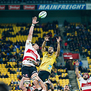 Line-out during the Super rugby (Round 12) match played between Hurricanes  v Lions, at Westpac Stadium, Wellington, New Zealand, on 5 May 2018.  Hurricanes won 28-19.