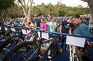 Elite athletes prepare their bikes and transition equipment. Noosa Triathlon. 2012 Noosa Triathlon Festival. Noosa, Queensland, Australia. 04/11/2012. Photo By Lucas Wroe