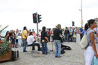 Musicians busking at the World Festival of Cultures, Dun Laoghaire, Dublin, Ireland<br />