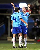 Fotball VM kvalifisering 15.10.2008<br /> FIFA World Cup South Africa Qualifier<br /> Ullevaal Stadium <br /> Norge vs Nederland<br /> Norway vs Netherlands<br /> <br /> Result  0 - 1<br /> <br /> Foto: Robert Christensen Digitalsport<br /> <br /> Netherlands Andre Ooijer og Joris Mathijsen gratulerer hverandre etter kampen