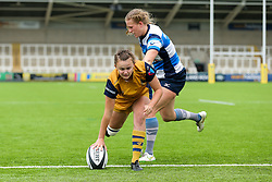 Becki Belcher of Bristol Ladies scores a try - Rogan Thomson/JMP - 08/10/2016 - RUGBY UNION - Kingston Park - Newcastle, England - Darlington Mowden Park Sharks v Bristol Ladies Rugby - RFU Women's Premiership.