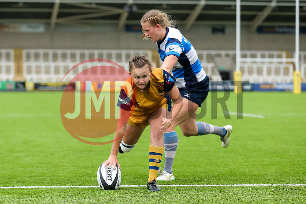 Becki Belcher of Bristol Ladies scores a try - Rogan Thomson/JMP - 08/10/2016 - RUGBY UNION - Kingston Park - Newcastle, England - Darlington Mowden Park Sharks v Bristol Ladies Rugby - RFU Women's Premiership.