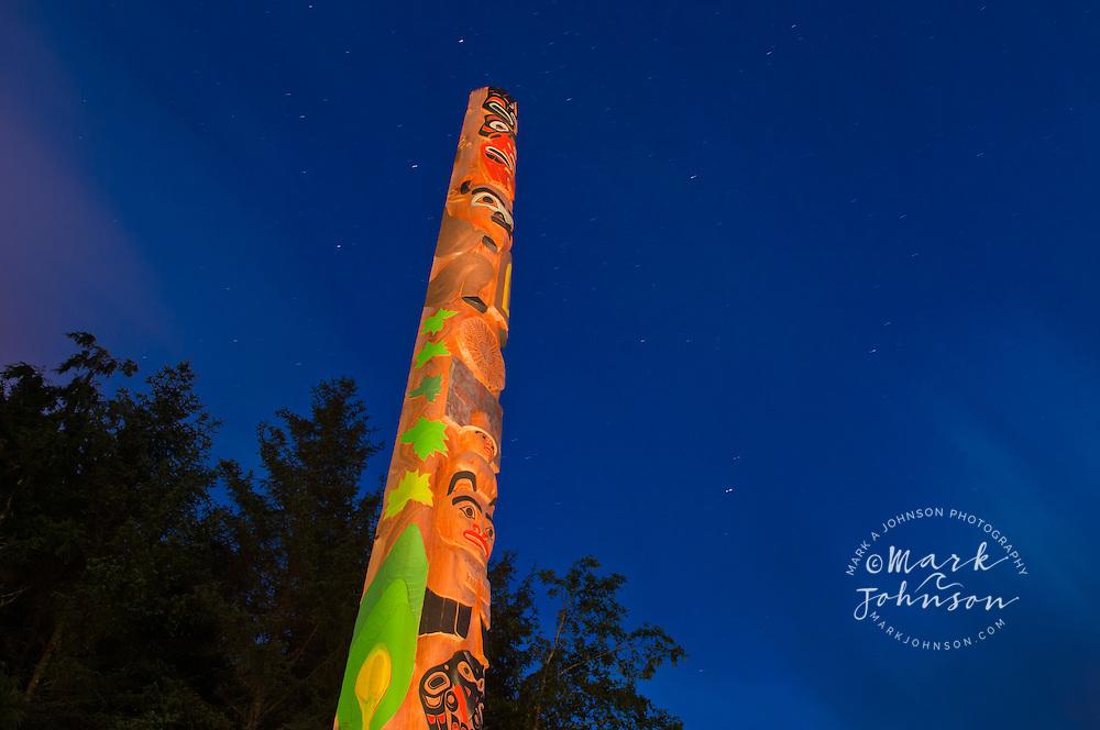 Totem Pole at dusk, Sitka National Historic Park, Sitka, Alaska