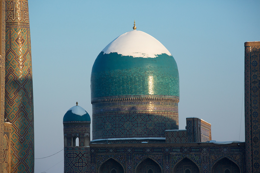 Snow on the Silk Road: dome of a madrasah at Samarkand's Registan, at daybreak. Feb 5-6, 2014 saw a rare sustained snowy period in Samarkand, Uzbekistan, breaking record lows and resulting in school closures and power outages
