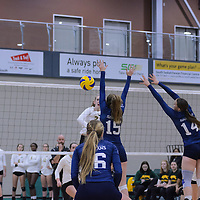 1st year middle Emma Matheson (2) of the Regina Cougars in action during the Women's Volleyball Home Game vs Trinity Western  on October 28 at the CKHS University of Regina. Credit Matt Johnson/Arthur Images