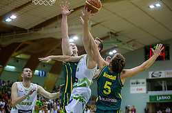 Zoran Dragic of Slovenia vs Cameron Bairstow of Australia and Ryan Broekhoff of Australia during friendly basketball match between National teams of Slovenia and Australia, on August 3, 2015 in Arena Tri lilije, Lasko, Slovenia. Photo by Vid Ponikvar / Sportida