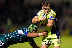 AJ MacGinty of Sale Sharks skips past Danny Hobbs-Awoyemi of London Irish - Mandatory by-line: Matt McNulty/JMP - 15/09/2017 - RUGBY - AJ Bell Stadium - Sale, England - Sale Sharks v London Irish - Aviva Premiership