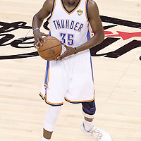 14 June 2012: Oklahoma City Thunder small forward Kevin Durant (35) looks to pass the ball during the Miami Heat 100-96 victory over the Oklahoma City Thunder, in Game 2 of the 2012 NBA Finals, at the Chesapeake Energy Arena, Oklahoma City, Oklahoma, USA.