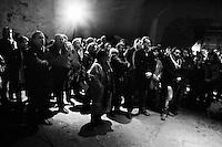 """PALERMO,  ITALY - 10 FEBRUARY 2013: Leader of SEL (Sinistra-Ecologia-Libertà, Left-Ecology-Freedom) and candidate for the 2013 general elections Nichi Vendola, 54, rallies in Palermo, Italy, on February 10, 2013.<br /> <br /> A general election to determine the 630 members of the Chamber of Deputies and the 315 elective members of the Senate, the two houses of the Italian parliament, will take place on 24–25 February 2013. The main candidates running for Prime Minister are Pierluigi Bersani (leader of the centre-left coalition """"Italy. Common Good""""), former PM Mario Monti (leader of the centrist coalition """"With Monti for Italy"""") and former PM Silvio Berlusconi (leader of the centre-right coalition).<br /> <br /> ###<br /> <br /> PALERMO,  ITALIA - 10 FEBBRAIO 2013: Leader di SEL (Sinistra-Ecologia-Libertà) e candidato nelle politiche del 2013 Nichi Vendola, 54 anni, durante un comizio a Palermo il 10 febbraio 2013.<br /> <br /> Le elezioni politiche italiane del 2013 per il rinnovo dei due rami del Parlamento italiano – la Camera dei deputati e il Senato della Repubblica – si terranno domenica 24 e lunedì 25 febbraio 2013 a seguito dello scioglimento anticipato delle Camere avvenuto il 22 dicembre 2012, quattro mesi prima della conclusione naturale della XVI Legislatura. I principali candidate per la Presidenza del Consiglio sono Pierluigi Bersani (leader della coalizione di centro-sinistra """"Italia. Bene Comune""""), il premier uscente Mario Monti (leader della coalizione di centro """"Con Monti per l'Italia"""") e l'ex-premier Silvio Berlusconi (leader della coalizione di centro-destra)."""