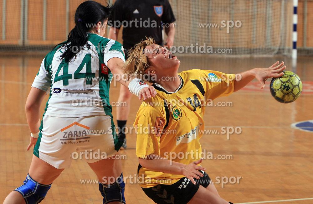 Tjasa Nadu of Krka vs Ana Petrinja of Zalec at Women Slovenian Handball Cup, finals match for third place between RK Celeia Zalec and ZRK Krka, on April 5, 2009, in Arena Tivoli, Ljubljana, Slovenia. Won of Krka 27:24. (Photo by Vid Ponikvar / Sportida)
