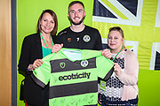 Forest Green Rovers Carl Winchester(7) with match sponsors during the EFL Sky Bet League 2 match between Forest Green Rovers and Macclesfield Town at the New Lawn, Forest Green, United Kingdom on 13 April 2019.