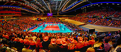 11–01-2020 NED: Semi Final Olympic qualification tournament women Germany - Netherlands, Apeldoorn<br /> First semi final match Germany - Netherlands 3-0 / Centercourt view, Team NL, Rabobank boarding