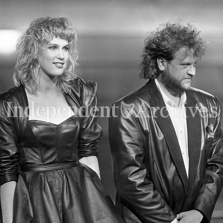 Belgium's entry into the Eurovision Song Contest Reynaert on stage during the rehearsal in the RDS, Dublin, 29/04/1988 (Part of the Independent Newspapers Ireland/NLI Collection).
