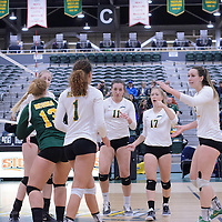 Cougars during the Women's Volleyball Home Game vs Trinity Western  on October 28 at the CKHS University of Regina. Credit Matt Johnson/Arthur Images