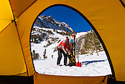 View from a yellow dome tent of a backcountry skier, Inyo National Forest, Sierra Nevada Mountains, California