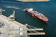 Nederland, Zuid-Holland, Rotterdam, 10-06-2015; <br /> Container Ship Le  Havre van APL (American President Lines) onderweg naar de containerterminal van RWG (Rotterdam World Gateway), geassisteerd door twee sleepboten van Kotug.<br /> Container Ship Le Havre APL (American President Lines) on its way to the container terminal of RWG (Rotterdam World Gateway), assisted by two tugs Kotug.<br /> <br /> luchtfoto (toeslag op standard tarieven);<br /> aerial photo (additional fee required);<br /> copyright foto/photo Siebe Swart