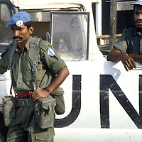 Two members of the Fijian contingent of the United Nations Interim Force in Lebanon - UNIFIL in 1981.