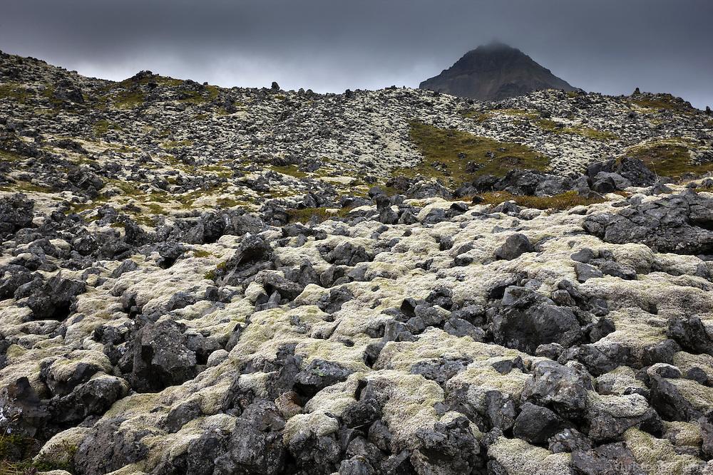 Hellnahraun lava and Mount Stapafell in background. Snæfellsnes Peninsula, Iceland. Hellnahraun og Stapafell á Snæfellsnesi.