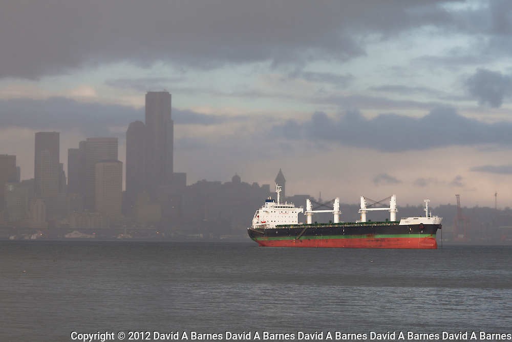 Freighter anchored on Elliott Bay with Seattle in background.