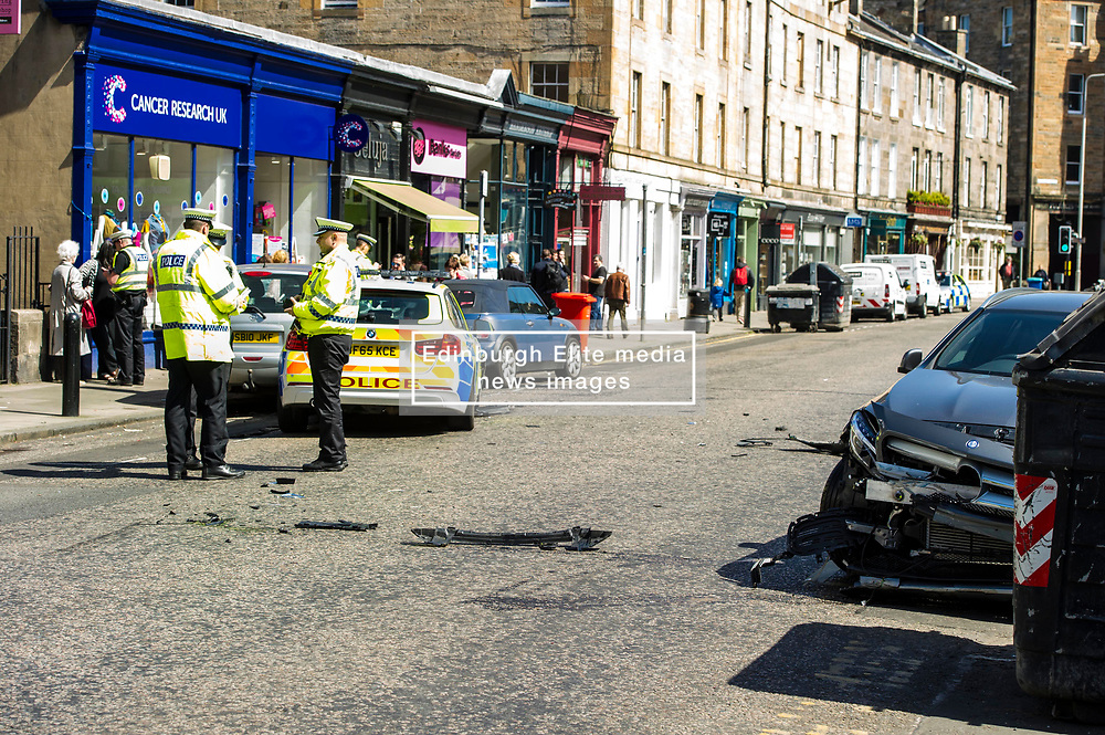 Pictured: <br /> Four cars were involved in an accident in the popular area of Stcokbridge today with thankfully only one person taken to hospital.  It appears that a Mercedes Benz was pulling out of a poarking soace on Raeburn Place and hit an oncoming BMW police car which then swerved into the opposite side of the roads and hit a Nissan which shunted forward in to another car.  One female police officer who was a passenger in the BMW was taken to hospital to check her injured hand<br /> <br /> <br /> Ger Harley   EEm 8 May 2017
