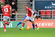 Bristol City defender Luke Ayling and Blackburn Rovers midfielder Craig Conway do battle for the ball during the Sky Bet Championship match between Bristol City and Blackburn Rovers at Ashton Gate, Bristol, England on 5 December 2015. Photo by Jemma Phillips.