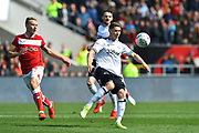 George Evans (17) of Derby County prepares to clear the ball during the EFL Sky Bet Championship match between Bristol City and Derby County at Ashton Gate, Bristol, England on 27 April 2019.