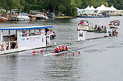 Henley on Thames, England, United Kingdom, Sunday, 07.07.19, Harvard University, U.S.A., passing the Progress Board, in the Final of the Prince Albert Challenge Cup, Henley Royal Regatta,  Henley Reach, [©Karon PHILLIPS/Intersport Images]<br /> <br /> 11:47:09 1919 - 2019, Royal Henley Peace Regatta Centenary,