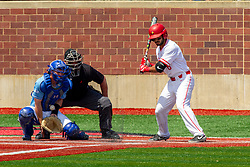 NORMAL, IL - May 01: J Mark Huesman behind Max Wright with Aidan Huggins batting during a college baseball game between the ISU Redbirds and the Indiana State Sycamores on May 01 2019 at Duffy Bass Field in Normal, IL. (Photo by Alan Look)