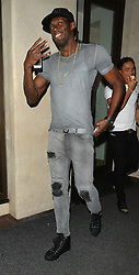 Jamaican sprinter Usain Bolt enjoys a night out in London, UK. 24/08/2016 <br />