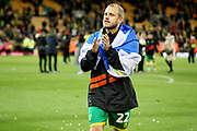 Norwich City forward Teemu Pukki (22) celebrates promotion to the premier league after the EFL Sky Bet Championship match between Norwich City and Blackburn Rovers at Carrow Road, Norwich, England on 27 April 2019.