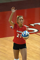 12 November 2006: Katie Seyller..In the final regular season home game at ISU, the Northern Iowa Panthers defeated the Illinois State Redbirds 3 game to 1. The match took place at Redbird Arena on the campus of Illinois State University in Normal Illinois.<br />