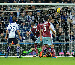West Ham's Kevin Nolan scores a goal. - Photo mandatory by-line: Dougie Allward/JMP - Mobile: 07966 386802 - 02/12/2014 - SPORT - Football - West Bromwich - The Hawthorns - West Bromwich Albion v West Ham United - Barclays Premier League