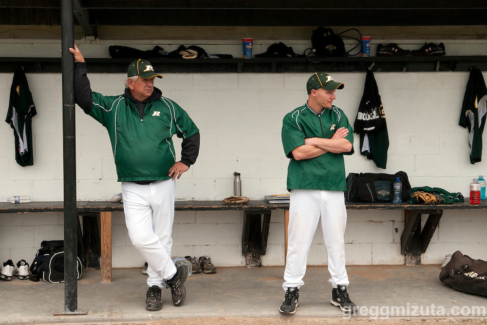 Rogue River coaches John White and Marlin Brashans before the start of the 3A Oregon State Baseball Championships first round game against Vale on May 25, 2011 at Cammann Field, Vale, Oregon.