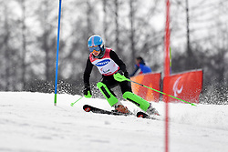 KHOROSHEVA Anastasiia LW9-2 NPA competing in the ParaSkiAlpin, Para Alpine Skiing, Slalom at the PyeongChang2018 Winter Paralympic Games, South Korea.
