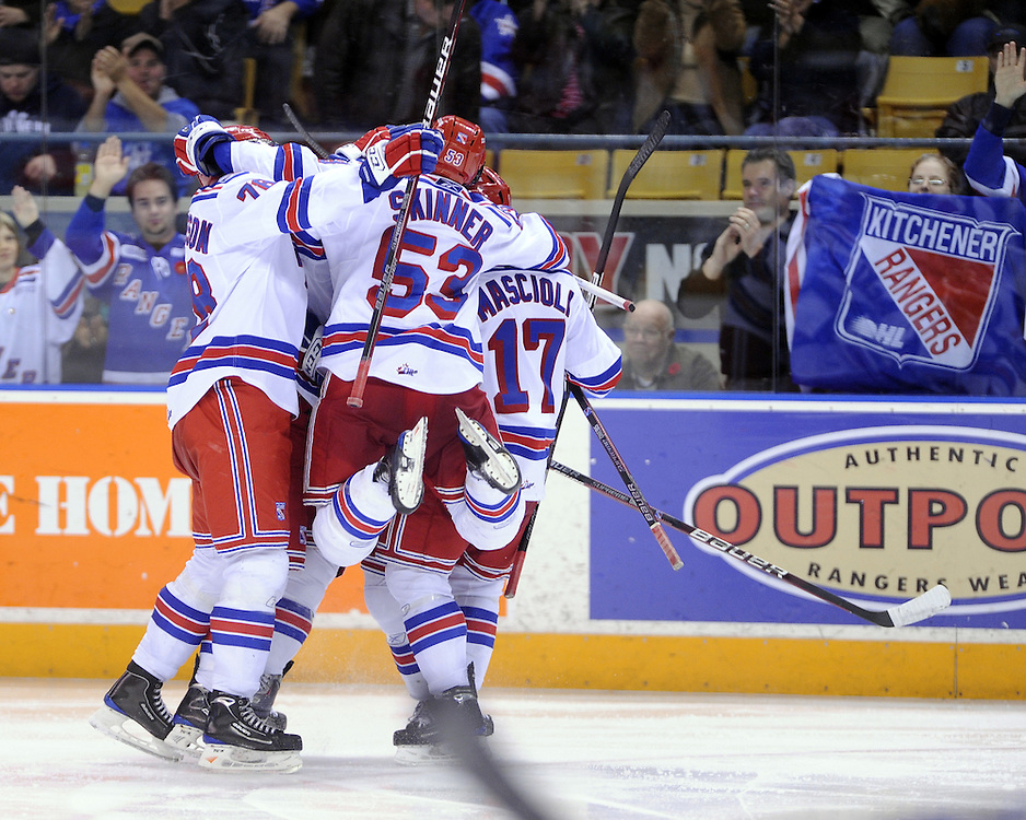 The Kitchener Rangers celebrate a goal against the Windsor Spitfires in a game at the Kitchener Memorial Auditorium on Nov. 6, 2009. Photo by Aaron Bell/OHL Images.