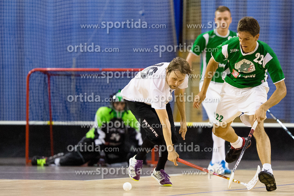 Nejc Vozelj of FBK Olimpija vs Olli Heinanen of Downtown Tigers during match for fifth place between Downtown Tigers (FIN) and FBK Olimpija (SLO)  in Floorball Slo Open 2012, on August 26, 2012 in Ljubljana, Slovenia.  (Photo by Matic Klansek Velej / Sportida.com)