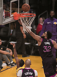 January 24, 2019 - Los Angeles, California, U.S - Karl-Anthony Towns #32 of the Minneapolis Timberwolves goes for a rebound during their NBA game with the Los Angeles Lakers on Thursday January 24, 2019 at the Staples Center in Los Angeles, California. Lakers lose to Timberwolves, 105-120. (Credit Image: © Prensa Internacional via ZUMA Wire)