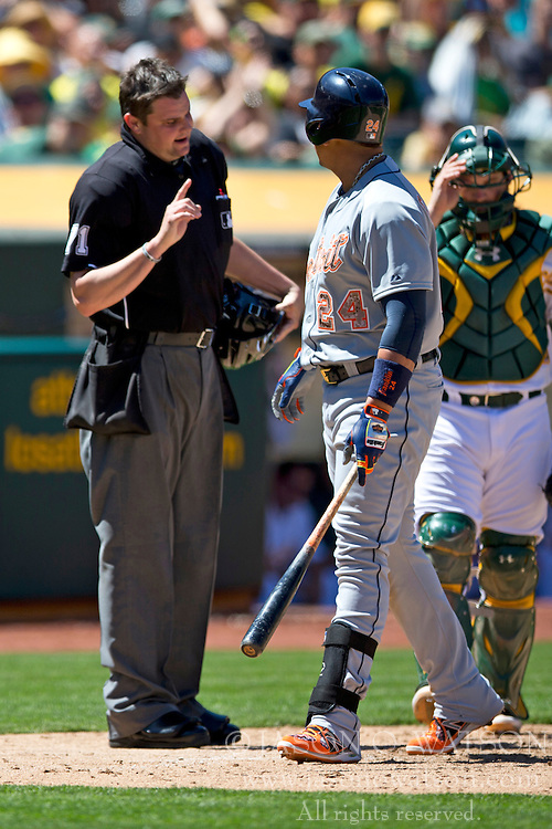 OAKLAND, CA - MAY 26:  Miguel Cabrera #24 of the Detroit Tigers argues a called third strike with umpire Jordan Baker #71 in front of Derek Norris #36 of the Oakland Athletics during the sixth inning at O.co Coliseum on May 26, 2014 in Oakland, California. (Photo by Jason O. Watson/Getty Images) *** Local Caption *** Miguel Cabrera; Jordan Baker; Derek Norris
